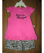 """Baby Girl""""Born To shop"""" S/Sleeves Tee & Short Set.Sz 9 Months. Pink/Blac... - $12.86"""