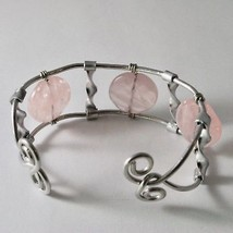 ALUMINUM BANGLE BRACELET WITH PINK QUARTZ HAND-MADE IN ITALY 7 INCHES, 18 CM image 2