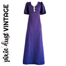 Vintage Dress Maxi 60s Purple Hippy 1960s Bohemian Floral Boho Long Size XS - $30.10