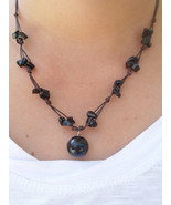 Fair Trade BLACK ONYX Bead Wax Cotton Pendant Choker NECKLACE Thai Jewelry - $8.43