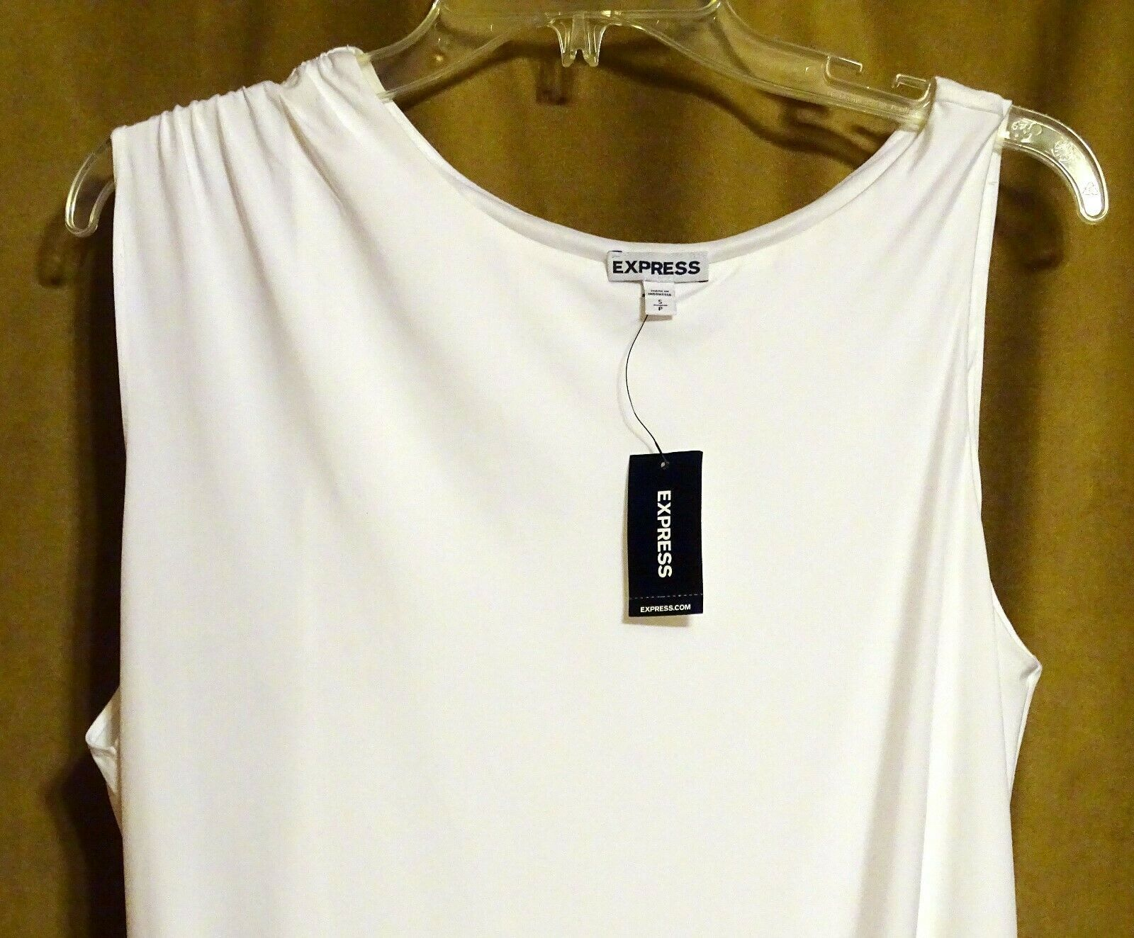 NEW EXPRESS $35 WHITE ASYMMETRIC DRAPED LINED SLEEVELESS DRESSY TOP BLOUSE S image 2