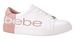 Bebe Women's Charley Sneaker, White/Pink, 8.5 M US