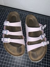 Birkenstock Womens Florida 3 Strap Sandal Slides Pink Blush White Bottom... - $56.09