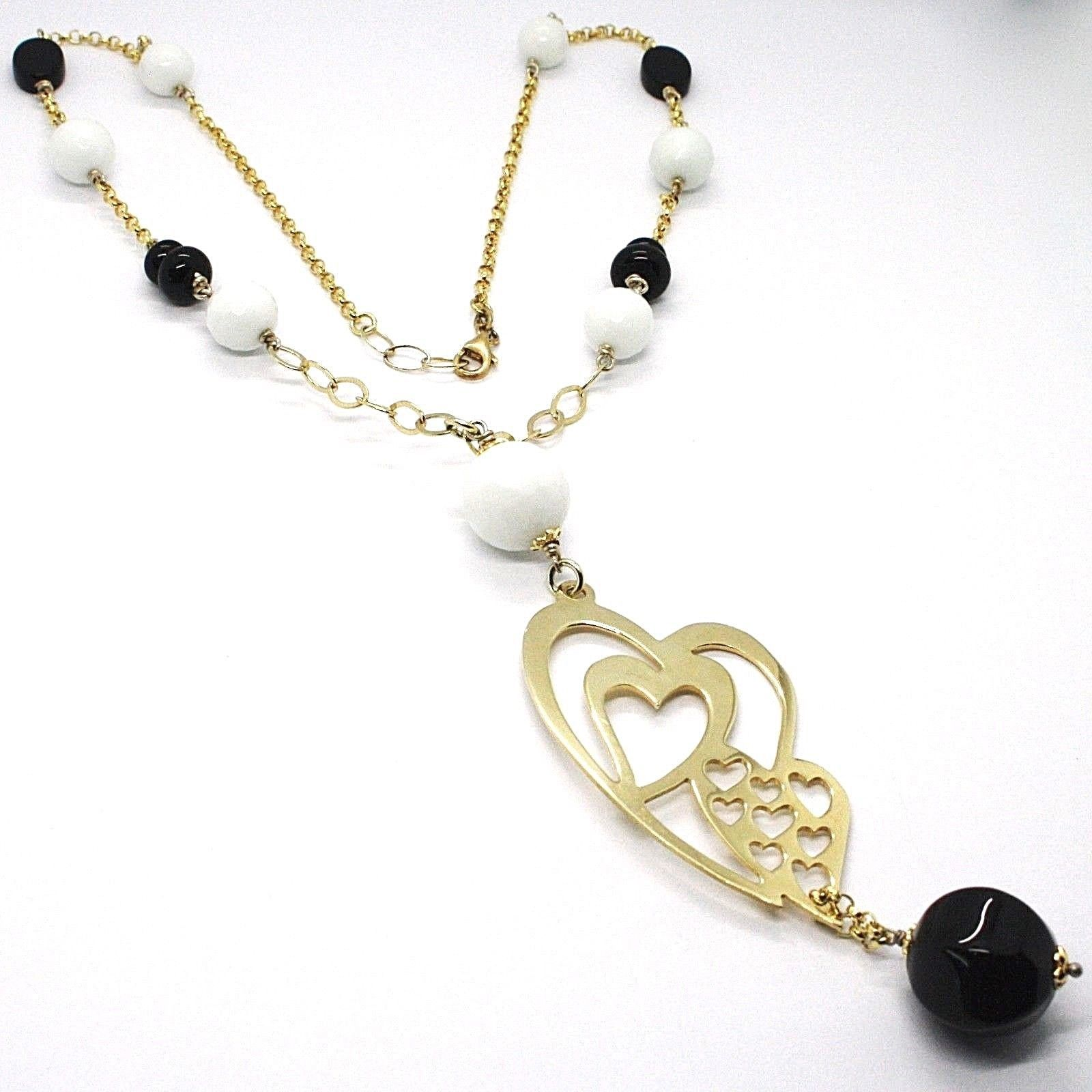 Silver necklace 925, Yellow, Onyx, White Agate, Double Heart Pendant