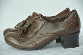 BORN Womens Sz 6.5 M Brown Leather Wingtip Tassel Heels Shoes NICE!! - $27.71