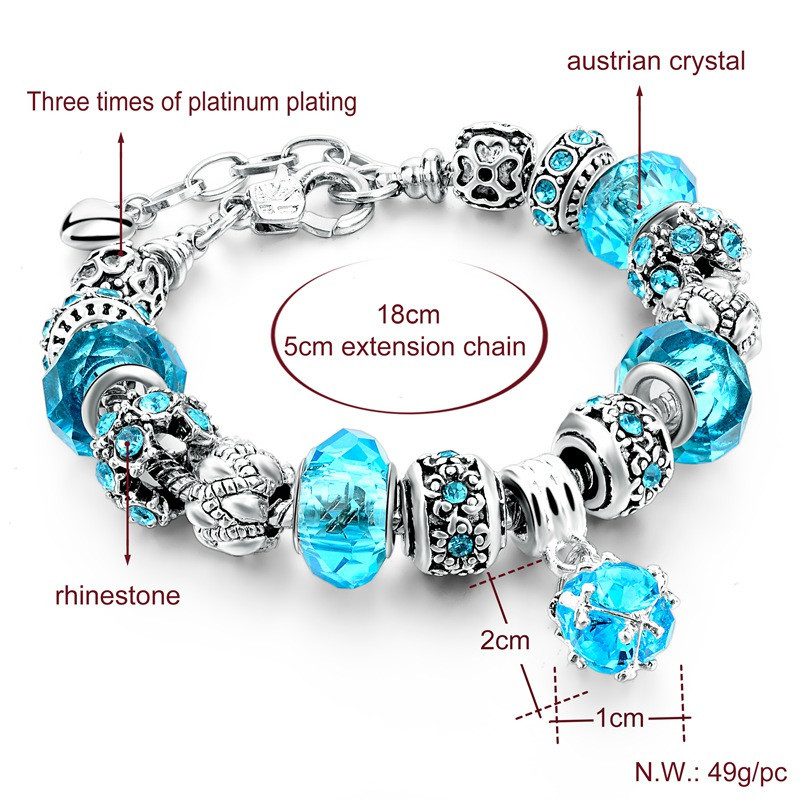 new crystal beads bracelets bangles silver plated charm
