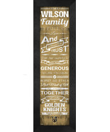 Personalized Vegas Golden Knights 24 x 8 Family Cheer Framed Print - $39.95