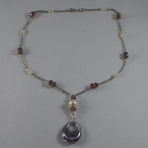 .925 SILVER RHODIUM NECKLACE WITH PURPLE CRYSTALS, PEARLS AND DROP OF ZIRCONIA image 2
