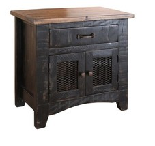 Anton Distressed Black Bedside Table Nightstand Matches Barn Door Series - $282.15