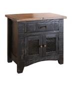 Anton Distressed Black Bedside Table Nightstand Matches Barn Door Series - $282.15