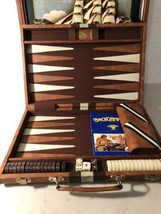 Vintage Cardinal Brown Faux Leather Backgammon Set in Case Brown Tan Complete - $54.45