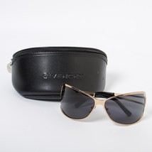 Givenchy Black Gold Frame Metal Sunglasses Black Mirror Eyewear with Case - $92.25