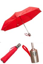 Totes Auto Open Auto Close Umbrella W/ Grey Handle (Red) - $19.22