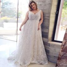 Sexy Plus Size Lace Wedding Dresses Deep V-neck Sleeveless Applique  Tulle Weddi image 7