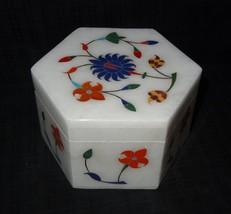 Marble Pietra Dura Jewelry Box New Year Gifts Handmade Precious Marquetry Decor - $45.99