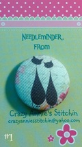 Crazy Cat #1 Needleminder fabric cross stitch needle accessory - $7.00