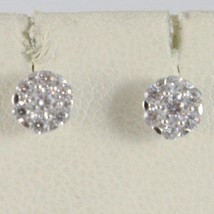 18K WHITE GOLD 5 MM FLOWER SUN EARRINGS WHITE ZIRCONIA 0.5 CARATS MADE IN ITALY image 1