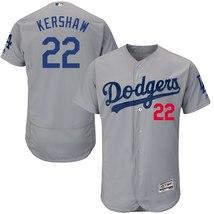 Men's Los Angeles Dodgers Clayton Kershaw #22 Gray Road Flex Base Player... - $74.99