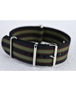 Bond Black / Green Nylon Watch Strap, Military-Style Nylon Band 3 Ring 2... - $5.94