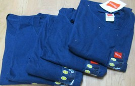 Men's T-Shirt Pocket Small Hanes 5 PC Navy Color 100 % Cotton  - $19.85