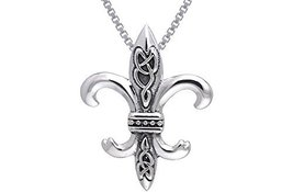 Jewelry Trends Sterling Silver Celtic Knots Fleur De Lis Pendant on 18 I... - $26.40