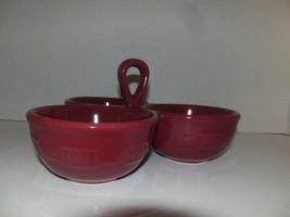 Longaberger Condiment Party 3 part server dish bowl WT Pottery Paprika  - $39.59