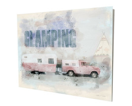 Old Truck and Camper Clamping RV Trailer Art Design 16x20 Aluminum Wall Art - $59.35