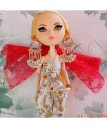 Doll Chinese Empress Red Rhinestone Silver Fan Earrings Necklace, Doll J... - $20.00