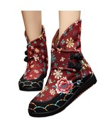 Vintage Beijing Cloth Shoes Embroidered Boots claret 35 - $38.99