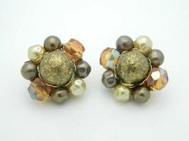 Japan Faux Pearl Gold Art Glass Bead Beaded Clip-On Earrings Vintage Gol... - $13.86