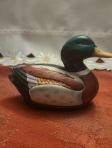 Ceramic Mallard Duck Decoy Lint Remover Brush Figurine Jasco Vintage image 5
