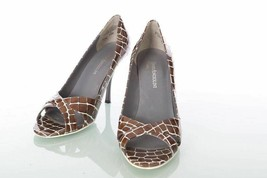 Enzo Angiolini Heels Size 7.5 M Emagnify Brown Purple Leather Peep Toe - £8.02 GBP