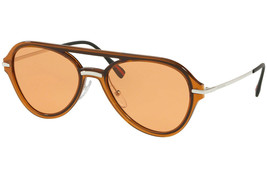 Prada Sport Sunglasses PS04TS FKS-1J2 Brown & Silver Frame W/ Orange Lens - $79.09