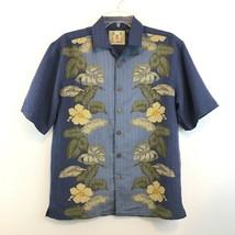 Joe Marlin Size Small Hawaiian Shirt Blue Aloha Camp Bowling Floral Mens... - $17.99