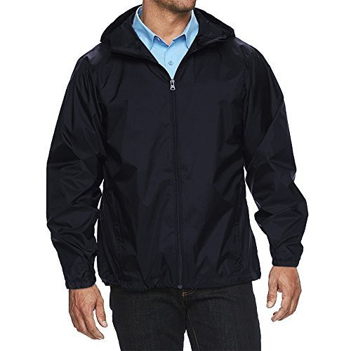 Maximos USA Men's Water Resistant Hooded Zip Up Windbreaker Jacket (Large, Navy
