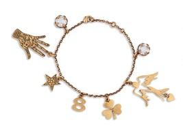 """Authentic Christian Dior 2017 """"D BOHÉMIENNE"""" CHARM BRACELET AGED GOLDTONE - $499.99"""