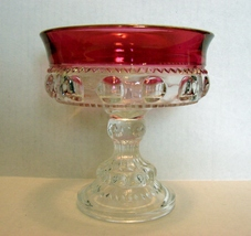 Tiffin Cranberry Ruby Flash Crystal Kings Crown Glass - Compote/Candy - $16.99