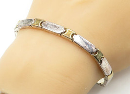 925 Sterling Silver - Vintage Smooth Two Tone Bar Link Chain Bracelet - ... - $37.51