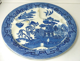 "2 Antique Blue Willow 10.5"" Divided Grill Plate Thumb Indents  CELEBRATE England - $59.40"
