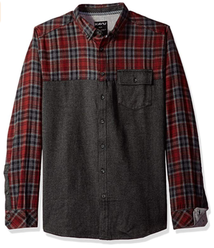 Medium KAVU Men's Shirt South Fork Button-Down Plaid Cotton Flannel Twill