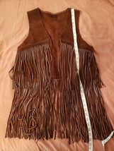 Fringed Leather vest jacket pioneer trapper hippie Halloween costume - $47.00