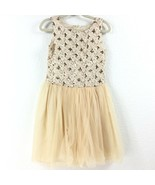 Le Gold/off White Dress Girl Size 5 - $20.94