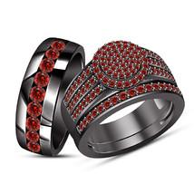 Art Deco Red Garnet Vintage Bridal Set Engagement Ring 14k Black Gold Fi... - $163.99