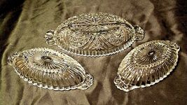 Heavy Etched Cut Glass Relish Tray and Two small Serving Trays AA20-CD0058 Vinta image 3