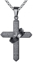 Men's Stainless Steel Lord's Prayer Cross Halo Pendant Necklace, Black, ... - $30.04