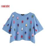 Tangada summer women sweet crop sweaters ice cream fashion o neck korean... - $32.50