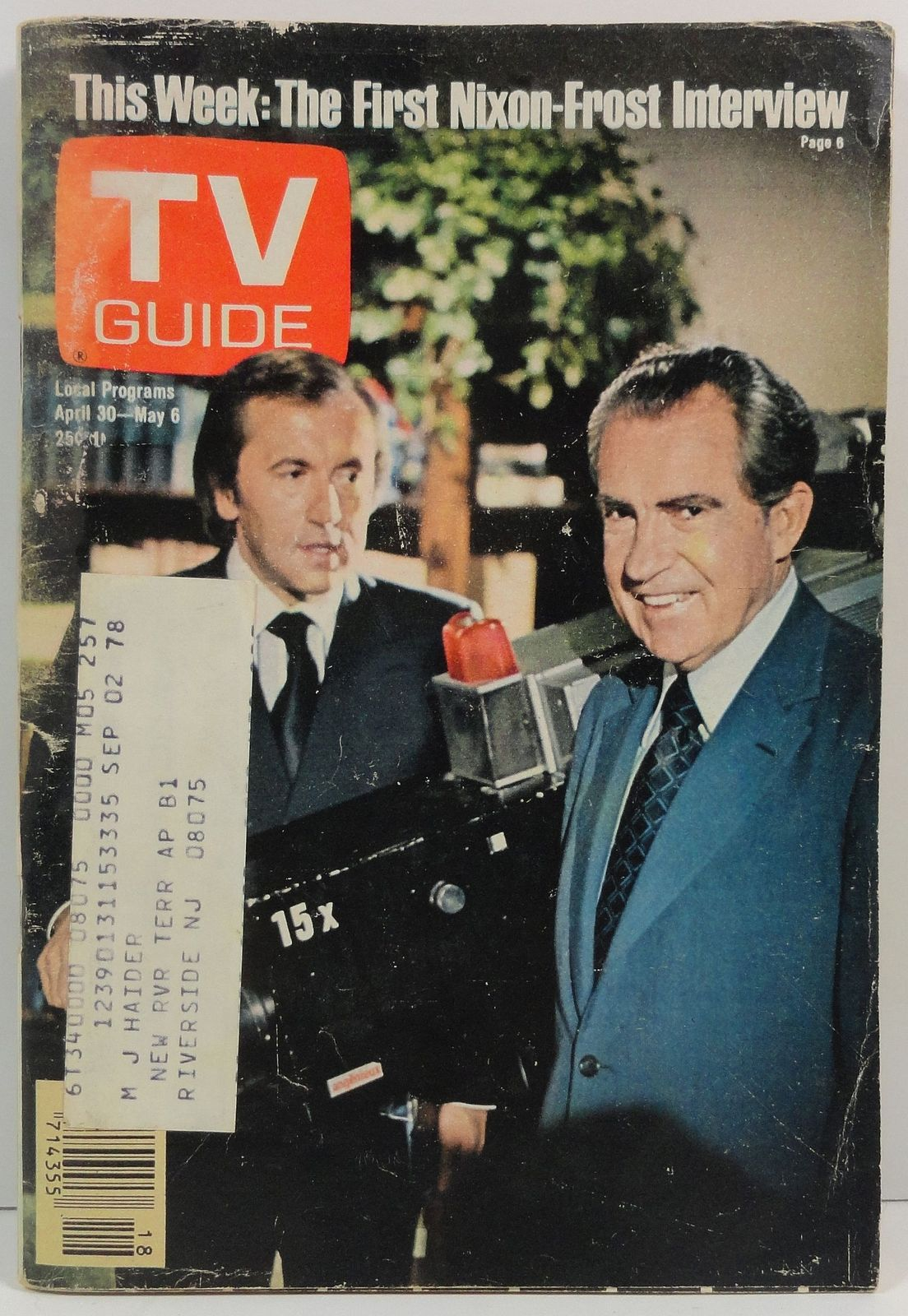 TV Guide Magazine April 30, 1977  Richard Nixon David Frost
