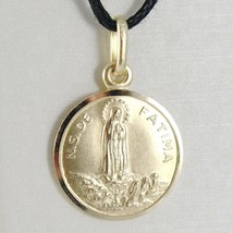 18K YELLOW GOLD OUR SENORA LADY OF FATIMA, VIRGIN MARY ROUND MEDAL, ITALY, 15 MM image 1