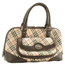 BURBERRY Nova Check Hand Bag Beige Canvas Auth 10037 - $240.00