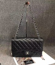 AUTHENTIC CHANEL BLACK CAVIAR QUILTED JUMBO DOUBLE FLAP BAG SHW
